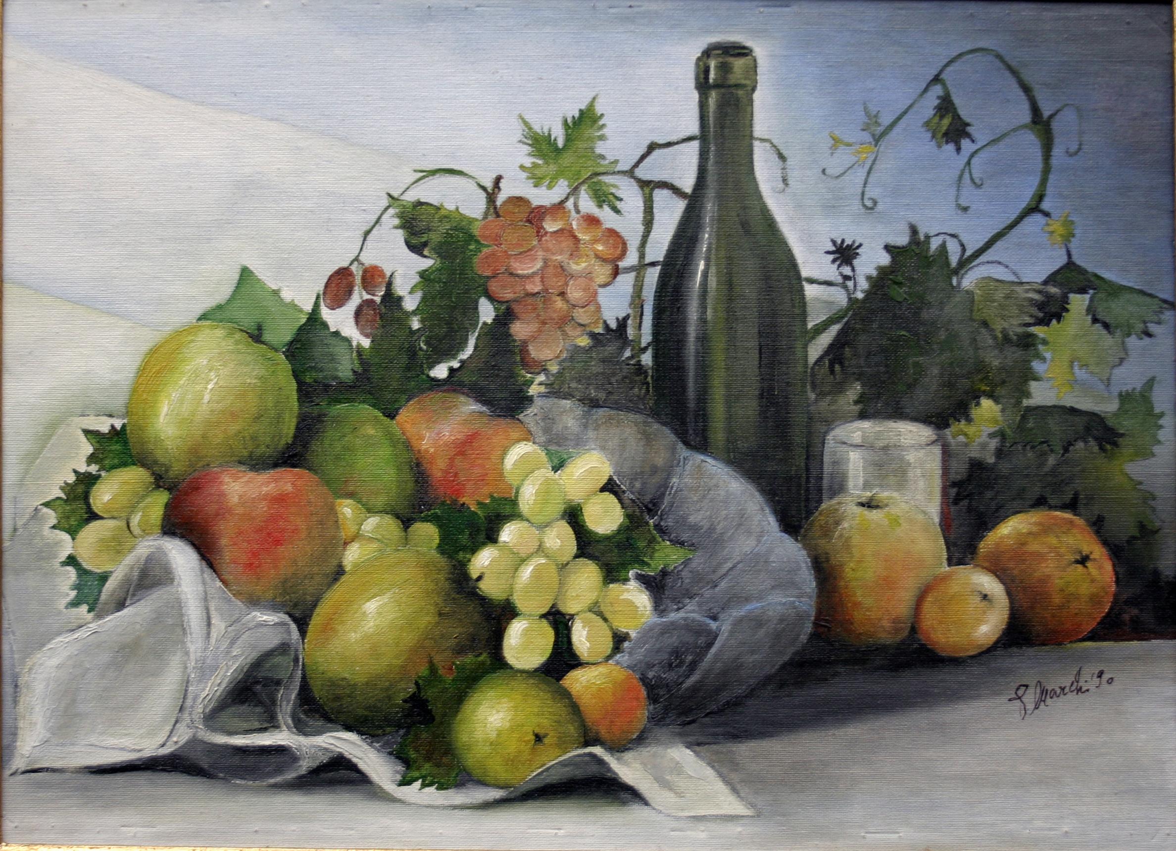 Frutta con bottiglia